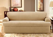 Stretch Pique 2 piece Sofa Slipcover Cream t-cushion by sure fit