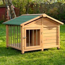 Cuccia cane in legno di pino trattato con veranda + cancello taglia large