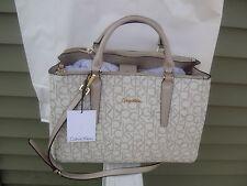 New Calvin Klein Monogram Almond/Khaki Satchel Bag.100%Authentic.Retail$228.00
