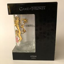 """Hbo Nib Game Of Thrones Lannister Lion Clear Glass Stein """"Hear Me Roar"""""""