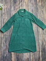 CAbi Dress Medium Women's #429 Green White Emerald Shirt Dress