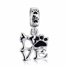 European Silver Charm LOVE Dangle Bead Pendant Fit 925 Sterling Bracelets Bangle