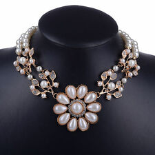 GOLD TONE FAUX PEARL CREAM LEAF AND FLOWER DIAMANTE CRYSTAL CHOKER /NECKLACE