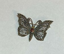 Vintage Sterling Silver Garnet Marcasite Butterfly Brooch or Pin