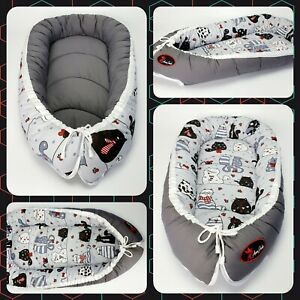BABY NEST POD COCOON normal size 0-6 m HIGH QUALITY cats on grey dark grey back