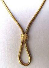 collier bijou vintage maille ronde serpent plaqué or noeud central signé 298