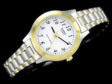 Casio LTP-1128G-7B Ladies 2 Tone Stainless Steel Watch White Dial Dress New