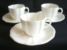 1940's Royal Crown Derby Surrey White - 3 Cups & Saucers, Rope Handle  *more