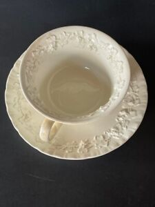 WEDGWOOD EMBOSSED WHITE QUEEN'S WARE TEACUP & SAUCER