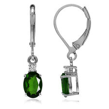 1.52ct. Green Chrome Diopside & Topaz 925 Sterling Silver Leverback Earrings