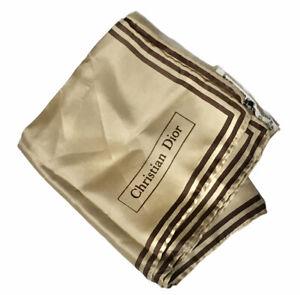 Vtg CHRISTIAN DIOR Silk Pocket Square Handkerchief Hand Rolled Hem Made In Italy