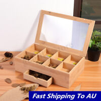 Glass Top Tea Coffee Spice Bag Storage Box 8 Compartment Drawer Container Holder