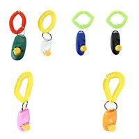 2Pcs Pet Dog Cat Button Click Clicker Trainer Training Obedience Aid Wrist Strap