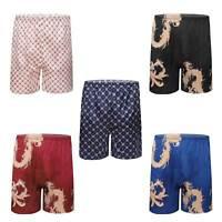 Mens Swim Trunks Dragon Geometric Printed Satin Boxers Shorts Beach Board Shorts