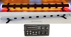 "56"" Amber LED Warning Light Bar Flat Bed Tow Truck Plow EMS Police Car Flashing"