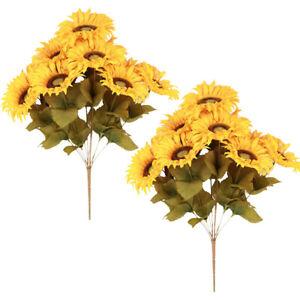 Artificial Sunflower Bush 2 Bunches of Yellow Sunflower 20 Heads Silk Flower