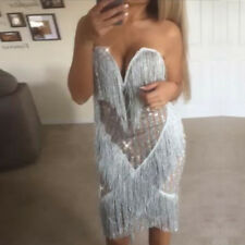 SILVER A RIGHE Glitter Frange Tassel Bodycon Mini Abito Tg 6-14 Boutique