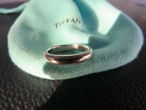 Auth. 3mm TIFFANY & CO milgrain platinum PT950 wedding ring stacking band Sz 4 H