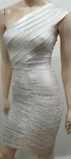 HERVE LEGER Silver & White One Shoulder Bandage Bodycon Evening Mini Dress XS