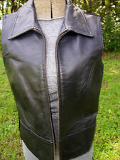 Leather Vest Womens Medium Black Fitted Mesh Back Motorcycle Zip Front Soft