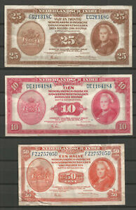 Netherlands Indies 1943 - Lot of 3 Banknotes (For Quality See Pictures Please)
