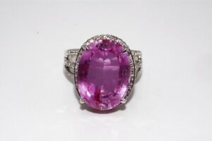 24.16CT PINK SAPPHIRE & WHITE TOPAZ COCKTAIL SILVER RING SIZE 7.25