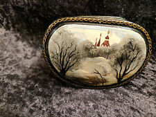"""VINTAGE RUSSIAN LACQUER PAINTED BOX FEDOSKINO """"WINTER MONASTERY"""""""