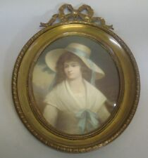 Fine Signed EUROPEAN PASTEL PAINTING of Young Maiden c. 1880  Gilt Frame +