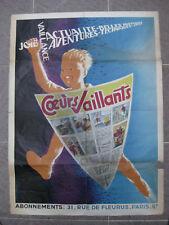 Coeurs Vaillants Affiche originale 1956 Louis Simon Ed. Fleurus BE