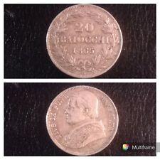Moneta Argento Stato Pontificio 20 Baiocchi 1865 Pio IX