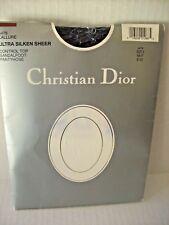 Christian Dior NAVY Pantyhose Control Top Ultra Silken Sheer Sandalfoot sz 2 NEW