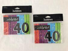 Milestone Celebrations 40th Birthday Party Invitations 2 Packs 16 Card Envelopes