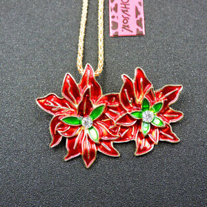 Betsey Johnson Red Enamel Crystal Flower Pendant Necklace Sweater Chain/Brooch