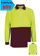 3 X HI VIS SHORT SLEEVE SAFETY YELLOW/MAROON AS/NZS 4602:2011 UPF: 50+ DAY USE 1