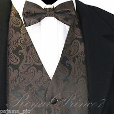 Brown XS to 6XL Paisley Tuxedo Suit Dress Vest Waistcoat & Bow tie Wedding Prom