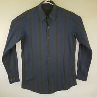 Mens Colorado L/S Shirt Blue Black Gradient Bars / Stripes SIZE M Cotton