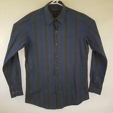 Mens Colorado L/S Shirt Blue Black Gradient Bars / Stripes SIZE M Cotton