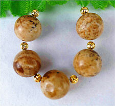 10mm 5Pcs Natural Brown Picture Jasper Height Hole Ball Bead AP14123