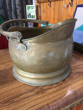 Vintage Brass Coal Scuttle Bucket Helmet Shaped - Polish Needed And Away You Go!