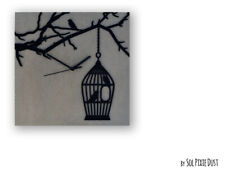 Concrete Square with Bird in Cage Silhouette - Modern Wall Clock