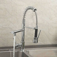 Modern Monobloc Chrome Brass Kitchen Sink Pull Out Spray Faucet Mixer Tap
