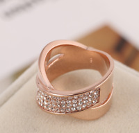 Michael Kors Swarovski Quartz Crystal Pave Rose Gold Criss Cross Ring Size 7