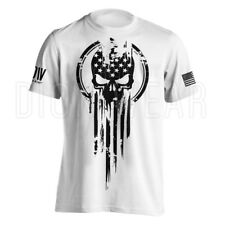 American Warrior Flag Skull Military T-Shirt Army S-3XL