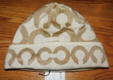 Coach Lurex Op Art Signature Ivory Gold Beanie Hat BNWT