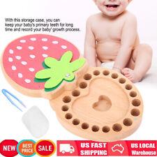 Strawberry Kids Tooth Box Organizer Baby Save Milk Teeth Wood Storage Box