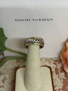 David Yurman 14K Gold & .925 Sterling Silver Cable Cigar Band Ring Size 9