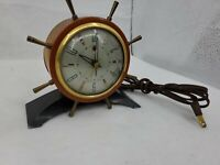 Antique Seth Thomas Helmsman Nautical Ship Wheel Mantle Clock Brass Back W/ Cork