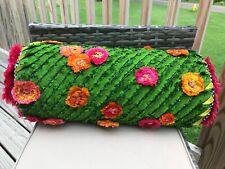 🌷 MACKENZIE-CHILDS🌷Linen & Silk Fancy Floral ROLL PILLOW