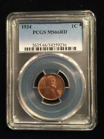 1934 Lincoln Memorial Cent PCGS Grade MS66RD Red Low Population !