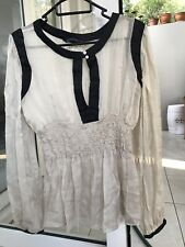 Zara Woman Beige Silk Long Top Gypsy Boho Medium